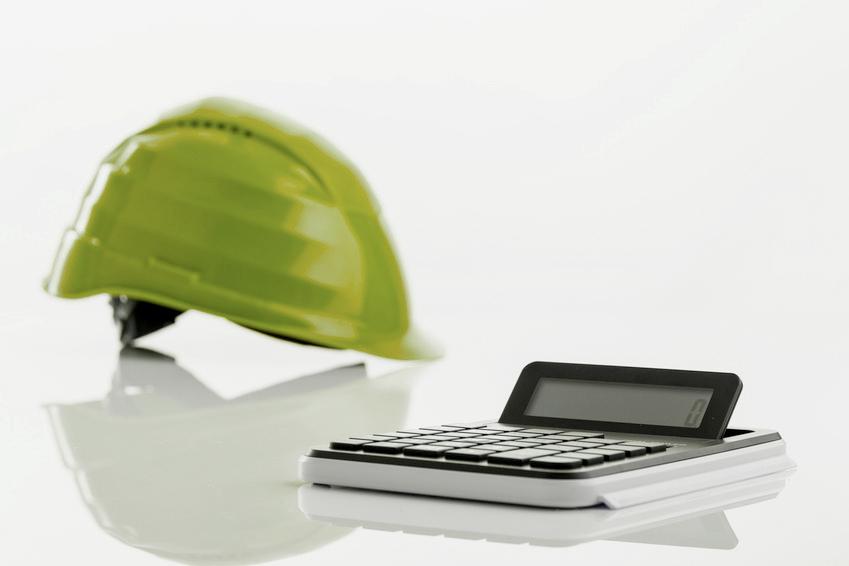 Arbeitshelm mit Taschenrechner