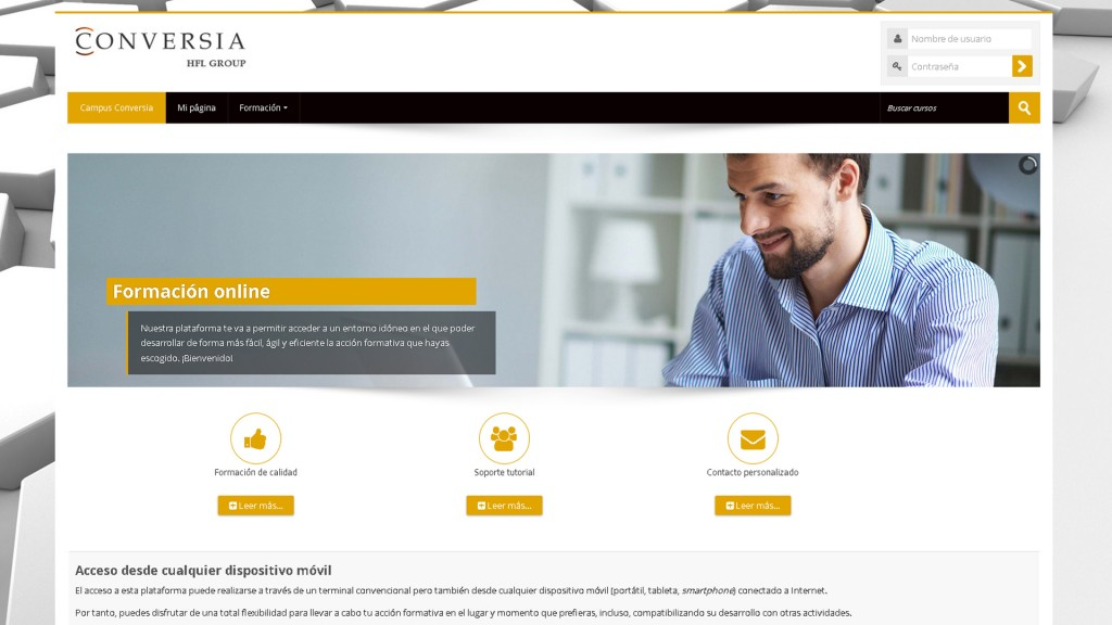 Pantalla de la página web de Conversia con la especificación de la formación online