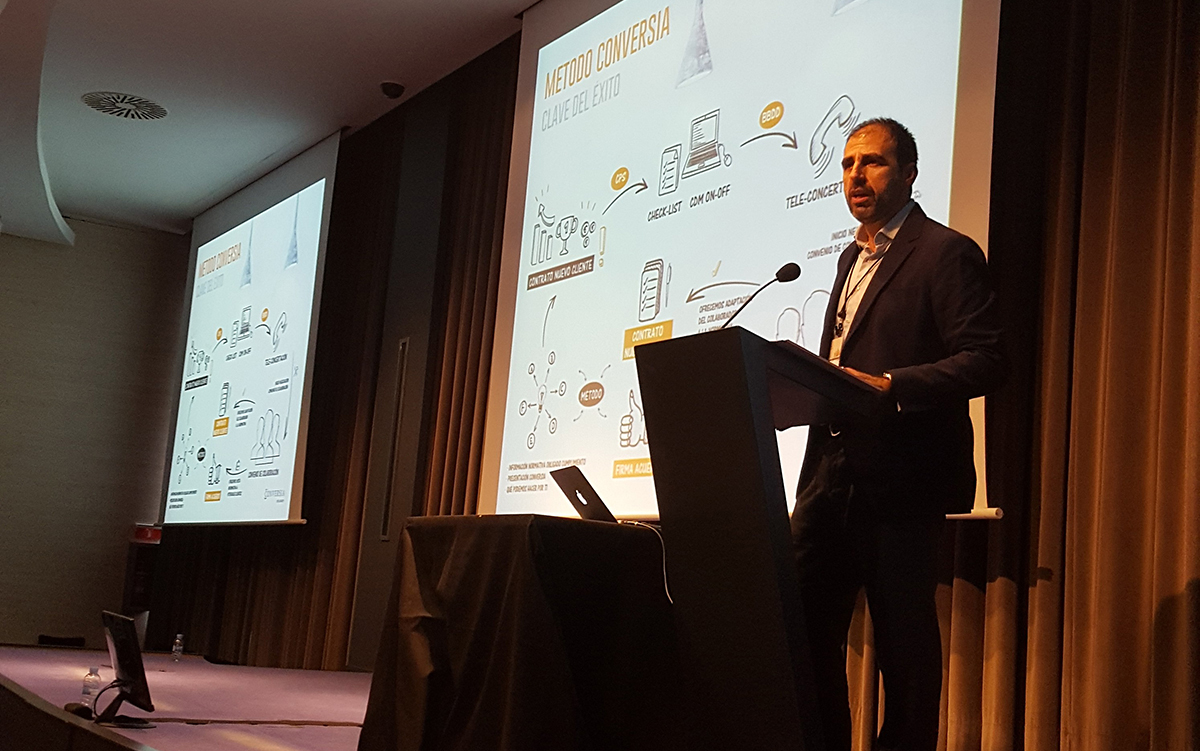 El Director Comercial de Conversia, Sergi Puig, durante su ponencia en la Convención 2017 de Conversia