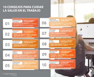 Infografía 10 consejos para cuidar la salud en el trabajo - prevención de riesgos laborales conversia