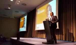 El Consejero Delegado del Grupo HFL, Augusto Carmona, durante su ponencia en la Convención de Conversia 2018