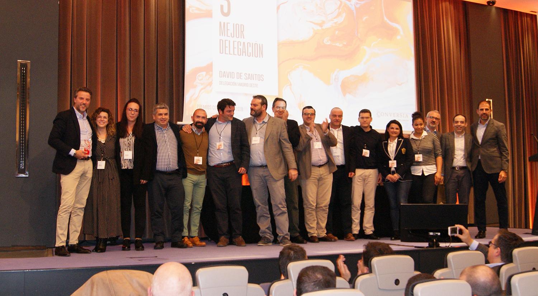 El equipo comercial de la Delegación de Madrid Oeste recogiendo el 3er Premio a Mejor Delegación de Conversia.