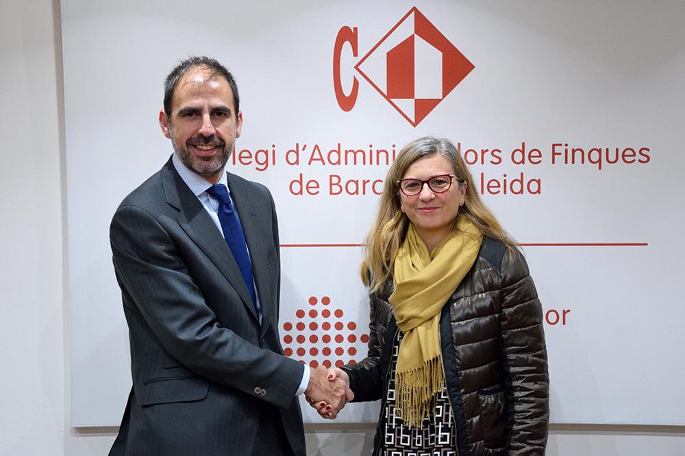 El Director Comercial de Conversia, Sergi Puig, y la Presidenta del Col·legi d'Administradors de Finques de Barcelona-Lleida, Anabel Miró.